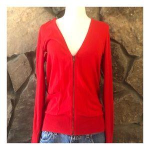 Loft Thin Knit Zip Up Sweater, Red, Medium